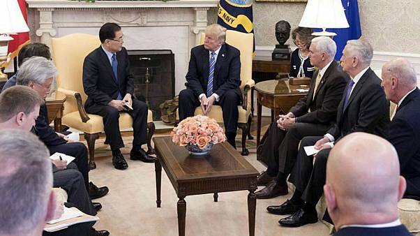 South KoreaÕs national security chief Chung Eui-yong briefs U.S. President