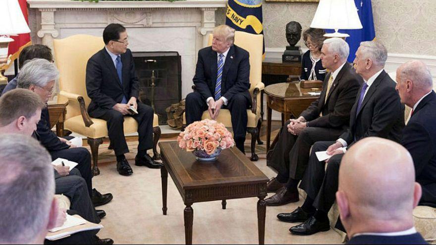 South KoreaÕs national security chief Chung Eui-yong briefs U.S. President