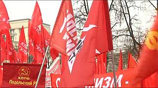 Russlands Kommunisten machen in Moskau Wahlkampf