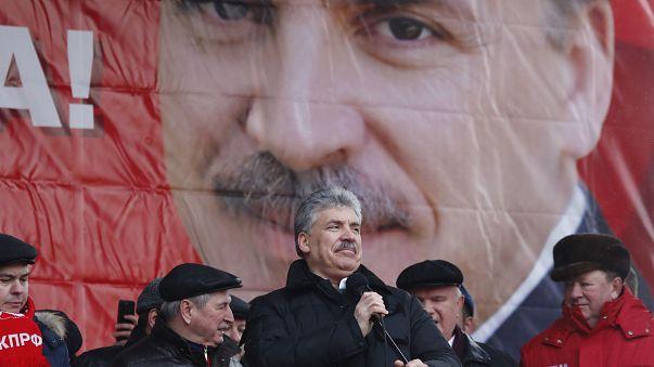 Moskova'da komünist aday Grudinin'e destek gösterisi