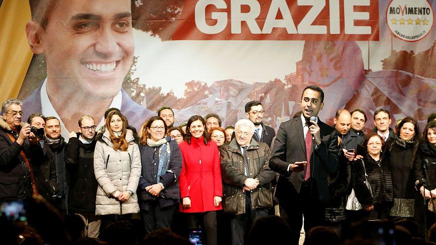 Five Star Movement leader Luigi Di Maio speaks to supporters