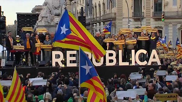 Manifestación independentista por la 'construcción de la república' catalana