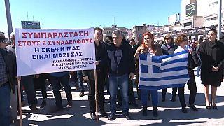 Yunan halkı Türkiye'de tutuklanan iki askerin iadesi için gösteri düzenledi