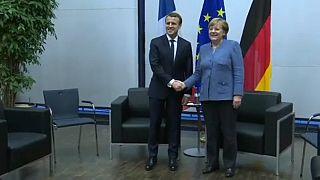Emmanuel Macron e a Chanceler Merkel