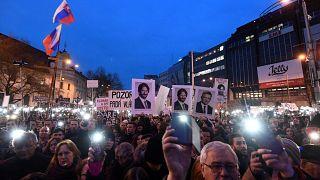 Demonstranten forderten mehr Demokratie in der Slowakei.
