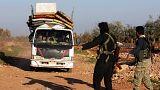 خروج غیرنظامیان از اناب در نزدیکی عفرین سوریه