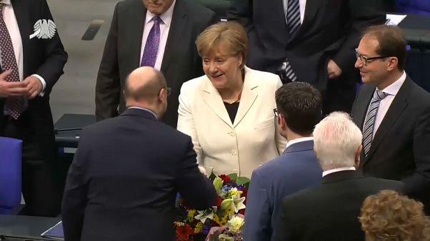 Merkel al BUdestag dopo il voto di fiducia al suo quarto governo