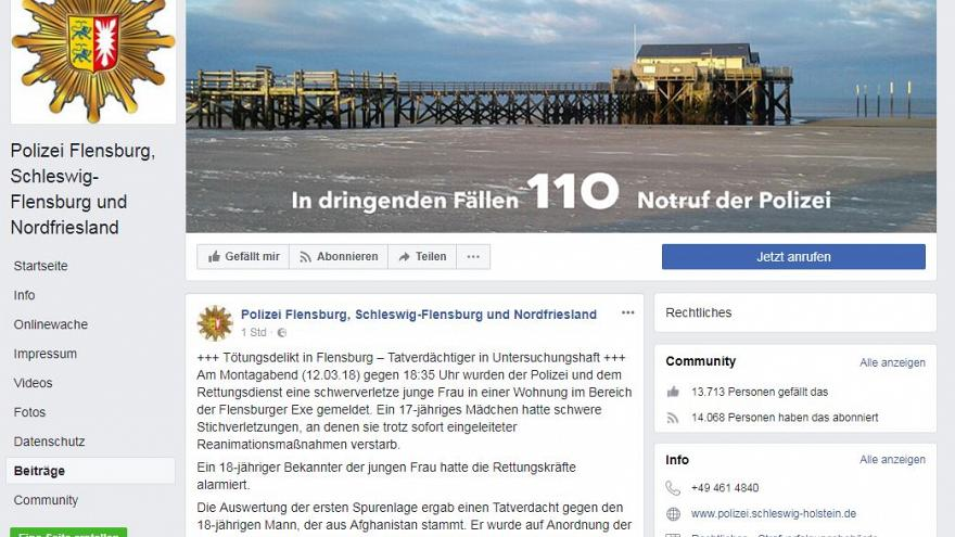Flensburg: 17-Jährige erstochen, Afghane unter Tatverdacht