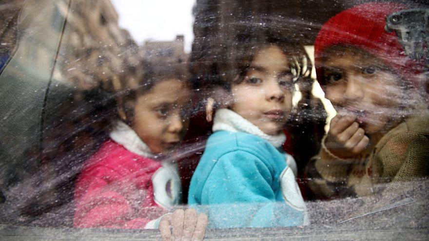 Crianças evacuadas de Ghouta Oriental (13 de março)