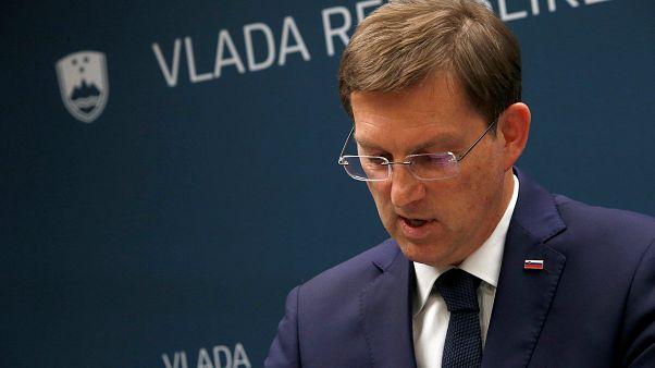 Sloweniens Ministerpräsident auf einer Pressekonferenz am Mittwoch
