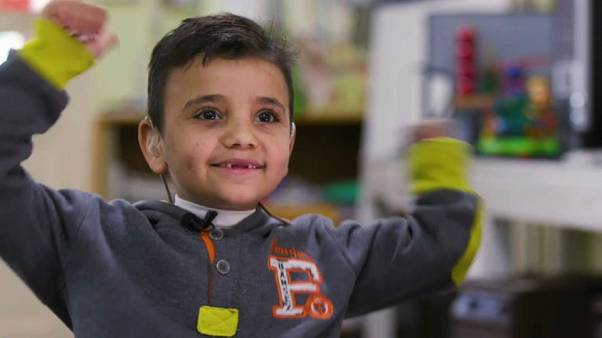 Seven year old Syrian refugee Mohammad attends school in Beirut