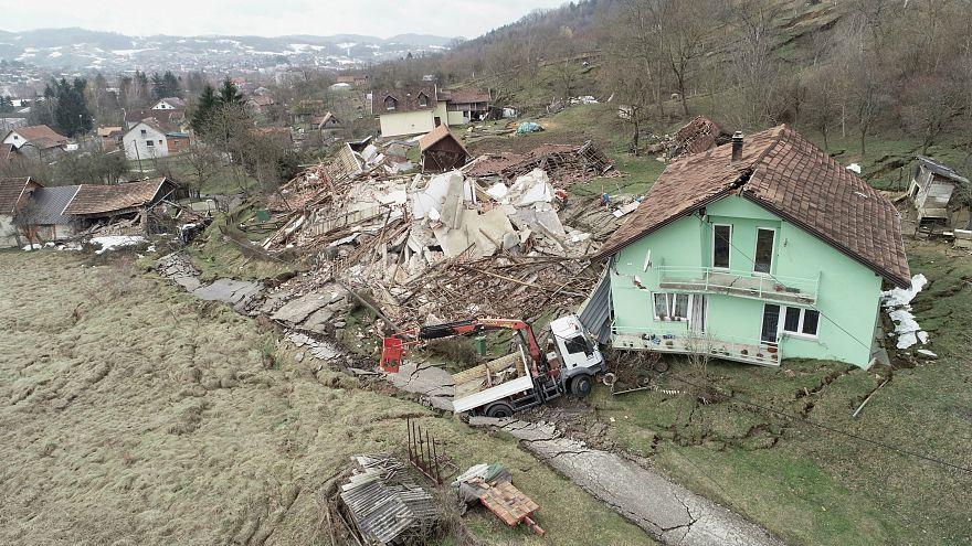 Houses destroyed by landslide are seen in Croatia