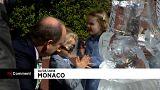 Escultura de gelo para o príncipe do Mónaco
