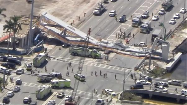 Six people killed after pedestrian bridge collapses in Florida