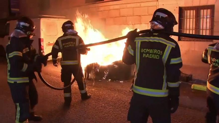 Clean-up following protests in Madrid