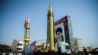 Supreme leader display seen at Baharestan Square in Tehran