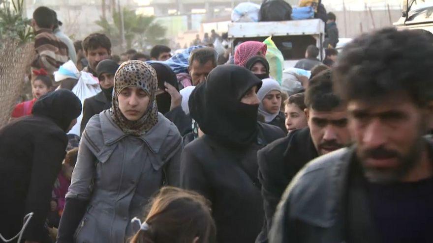 People fleeing eastern Ghouta, last rebel enclave near Damascus