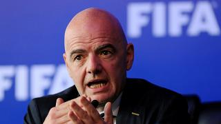 FIFA President Gianni Infantino speaking at news conference in Bogota