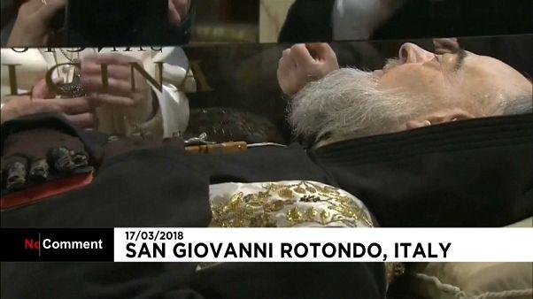 Pope Francis prayed before the body of Saint Pio at San Giovanni Rotondo