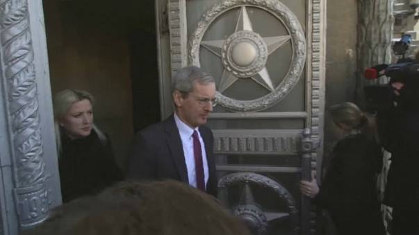 British ambassador to Russia leaves foreign ministry in Moscow.