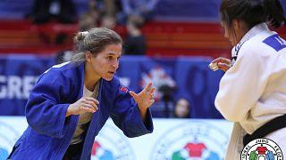 La judoka argentina Paula Pareto en un combate en el Gran Premio de Zagreb