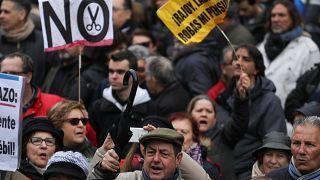 Rentner protestieren in Madrid