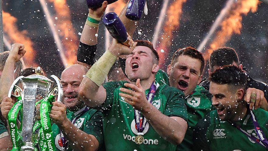 """Das irische Rugby-Team feiert den """"Grand Slam"""""""
