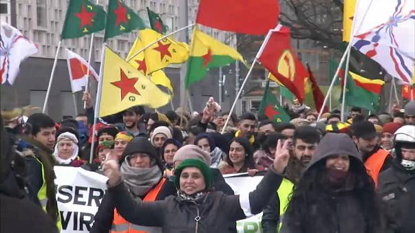Kurds demonstrating against Turkish government in Hannover, Germany