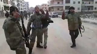 Free Syrian Army forces in footage reportedly shot in Afrin on Sunday