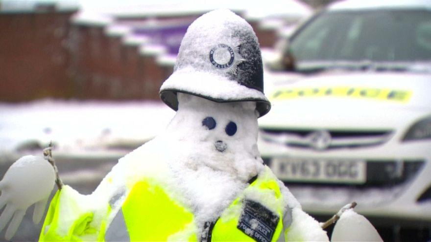 Officer snowman in Salisbury, England.