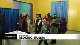 Group of rural voters bring music to the village polling station