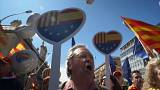 pro-unity supporters protest in Barcelona