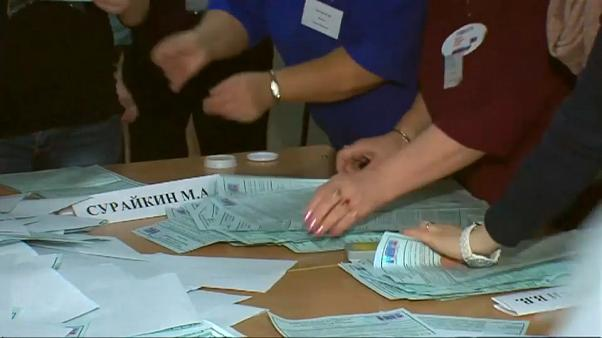 Ballots being counted in Russian polling station