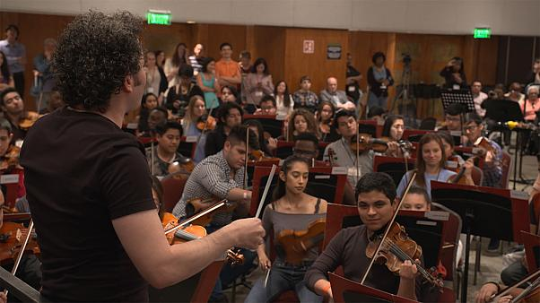 Dudamel inspires young musicians with passionate workshop