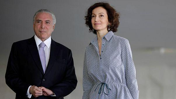 Michel Temer com Audrey Azoulay, a diretora-geral da UNESCO