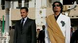 Libya's President Muammar Gaddafi (R) and his counterpart from France Nicol