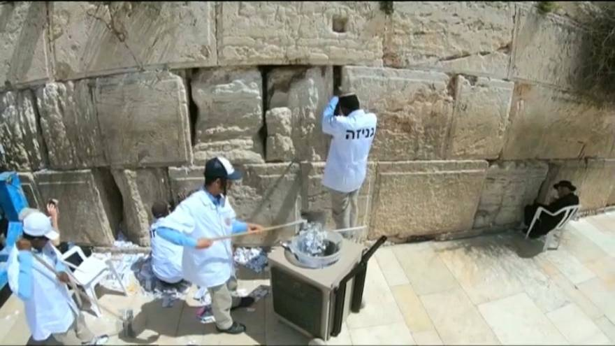 The Western Wall in Jerusalem gets a spring clean