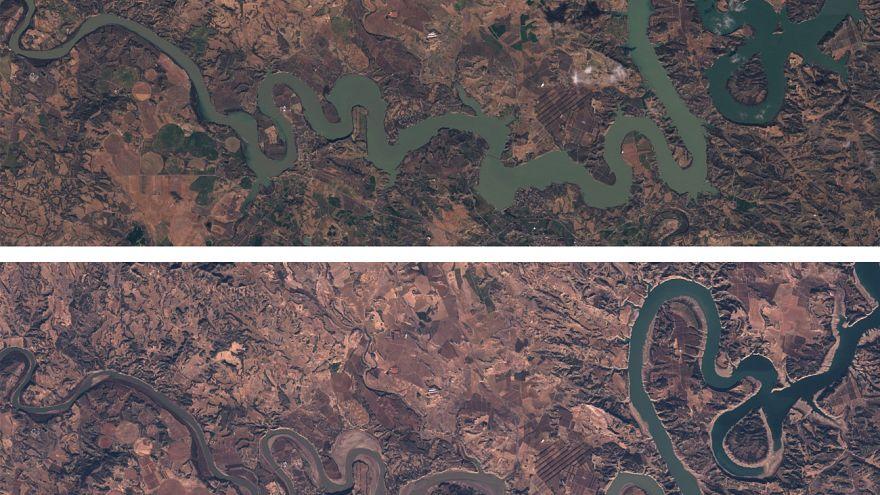 El pantano de Mequienza en diciembre de 2017 y en marzo de 2018