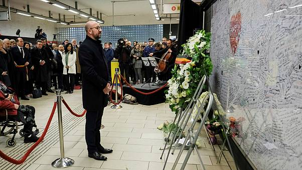 Brüksel'de terör saldırılarının kurbanları anıldı