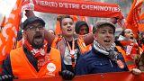 Mobilisation des cheminots et des fonctionnaires en France