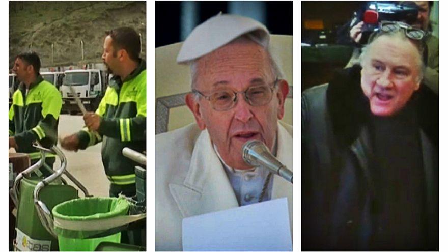 گلچین ویدئوهای بدون شرح هفته؛ وقتی باد کلاه پاپ را میرباید