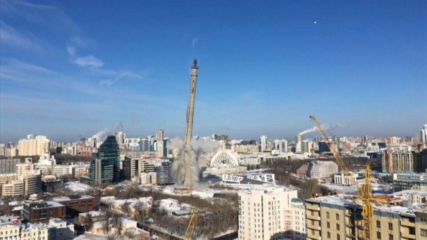 Fernsehturm in Russland gesprengt