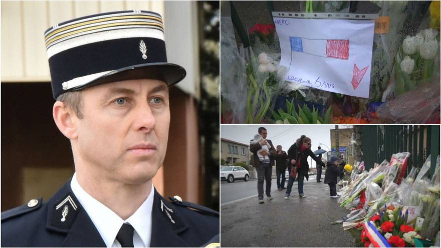 A child's picture thanking Lt Col Arnaud Beltrame