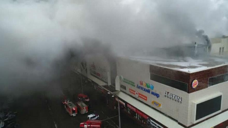 Fire at shopping mall in Siberia