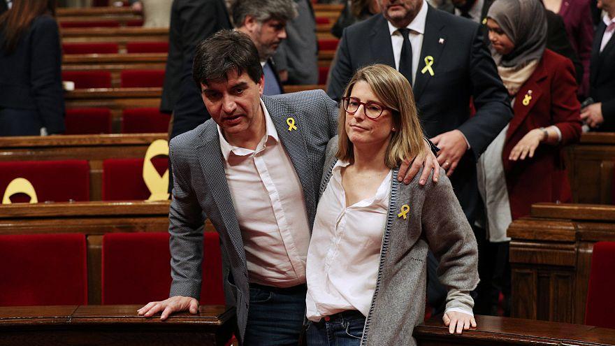 El portavoz de ERC Sergi Sabria y Elsa Artadi de JpC