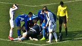 شوت مرگبار یک فوتبالیست