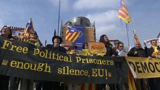 Pro-Catalan rally outside EU headquarters in Brussels