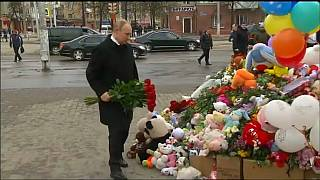 Vladimir Putin visits scene of Siberian shopping mall fire