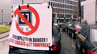 اعتراض تاکسی داران بروکسل به رانندگان اوبر