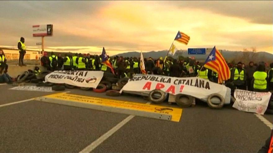 Cortes de carreteras en protestas independentistas en Cataluña